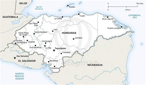 Detailed Political Map Of Honduras symbol for drawing