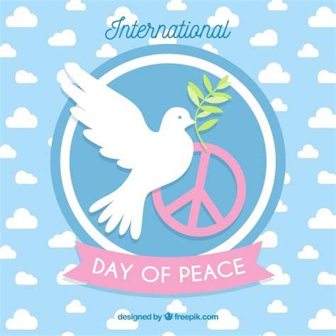 Día internacional de la paz, paloma con una rama de olivo ...