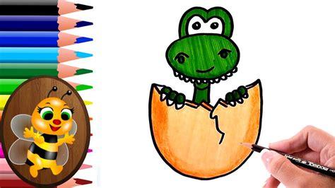 dibujando y coloreando un dinosaurio saliendo del cascaron ...