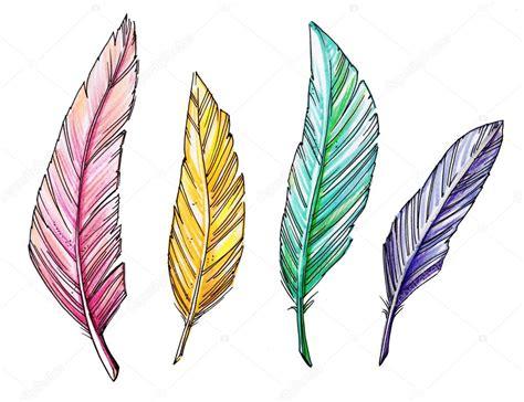 dibujo coloridas vintage plumas aisladas en blanco — Fotos ...