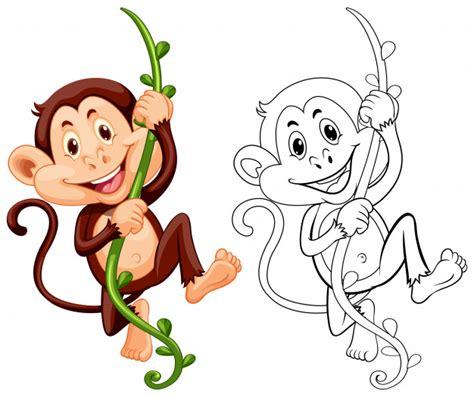 Dibujo de animal para mono en vid | Descargar Vectores Premium