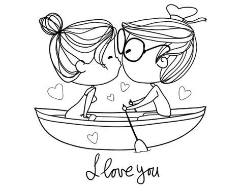Dibujo de Beso en un bote para Colorear | Dibujos de San ...