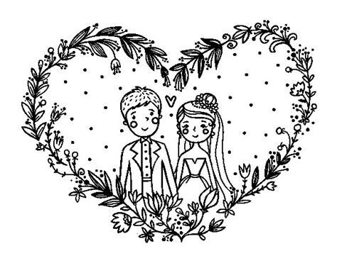 Dibujo de Boda corazón para Colorear   Dibujos.net