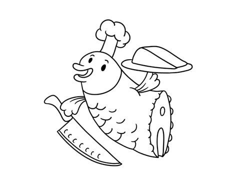 Dibujo de Chef Pescado para Colorear - Dibujos.net