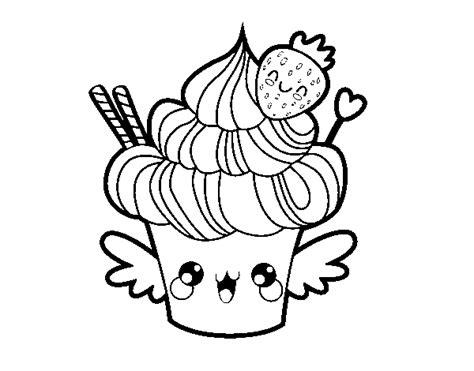 Dibujo de Cupcake kawaii con fresa para Colorear - Dibujos.net