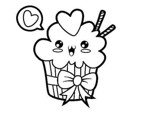 Dibujo de Cupcake kawaii con lazo para Colorear - Dibujos.net