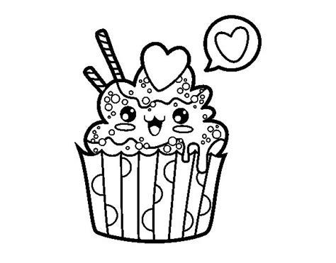 Dibujo de Cupcake kawaii para Colorear - Dibujos.net