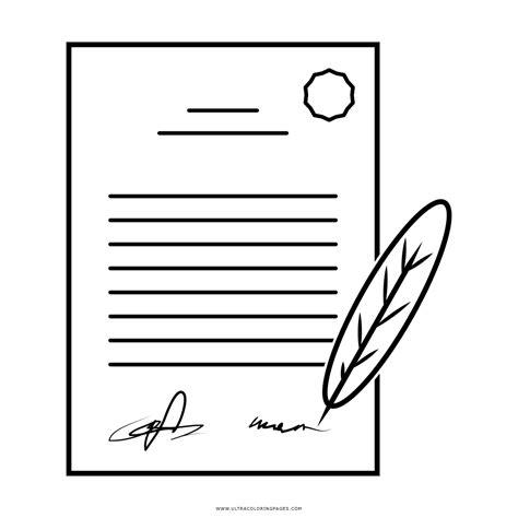 Dibujo De Documento Firmado Para Colorear   Ultra Coloring ...