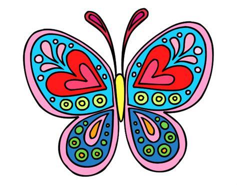 Dibujo de mariposa colorida pintado por en Dibujos.net el ...