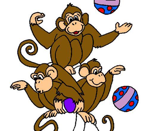 Dibujo de Monos haciendo malabares pintado por ...