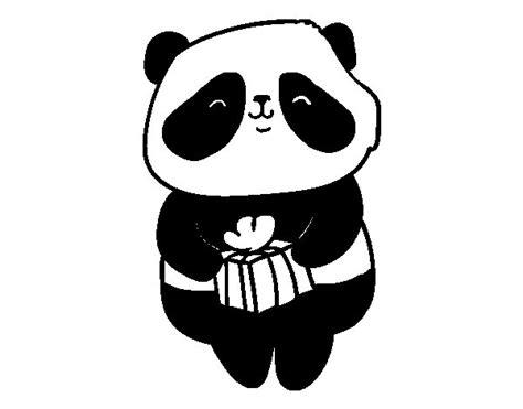 Dibujo de Panda con regalo para Colorear - Dibujos.net