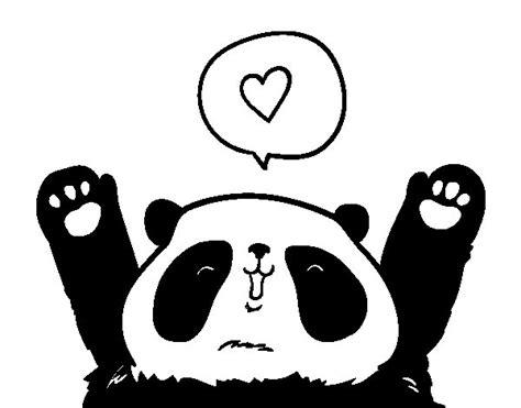 Dibujo de Panda enamorado para Colorear - Dibujos.net