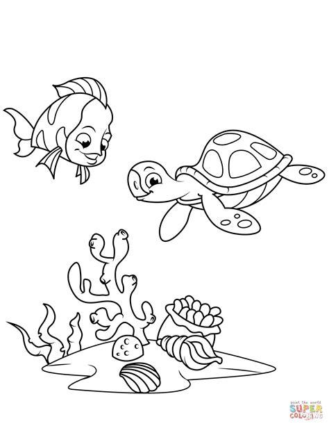 Dibujo de Peces de arrecife de coral y tortuga marina para ...