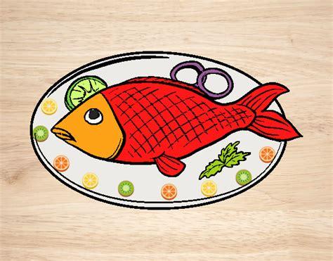 Dibujo de pescado frito pintado por en Dibujos.net el día ...