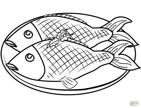 Dibujo de Plato con pescado para colorear | Dibujos para ...