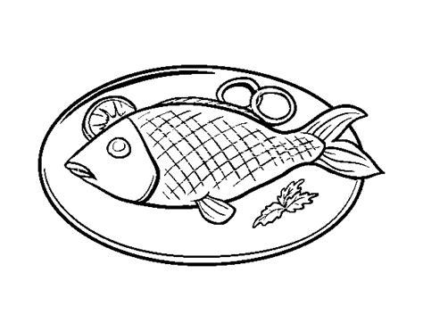 Dibujo de Plato de pescado para Colorear - Dibujos.net