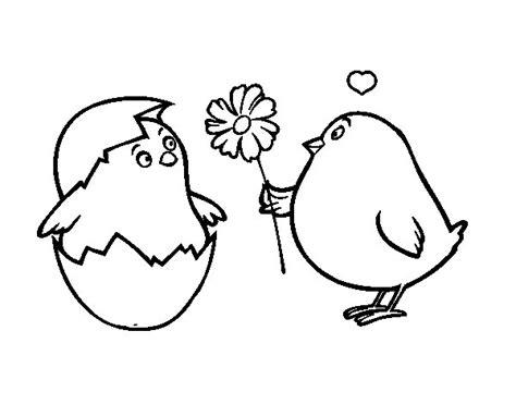 Dibujo de Pollitos enamorados para Colorear   Dibujos.net