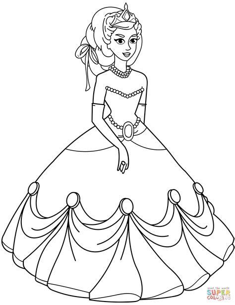 Dibujo de Princesa en un vestido de bola para colorear ...