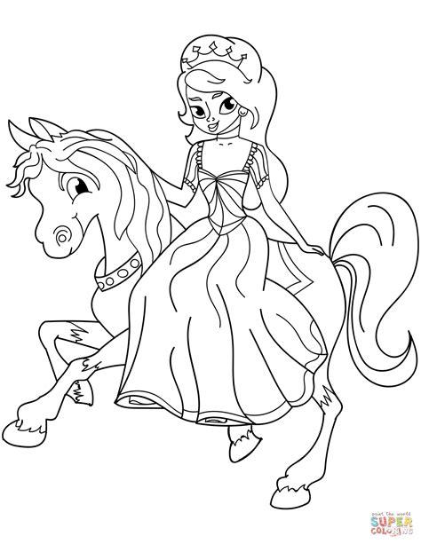 Dibujo de Princesa montando a caballo para colorear ...