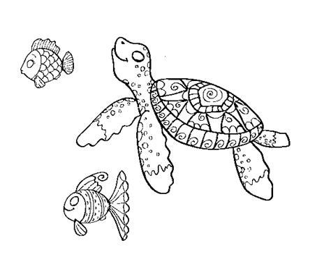 Dibujo de Tortuga de mar con peces para Colorear   Dibujos.net