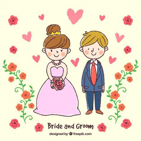 Dibujo de una pareja en su boda | Descargar Vectores gratis