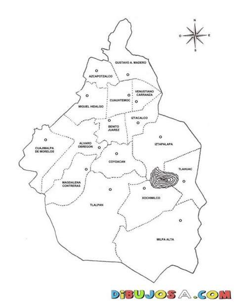 Dibujo Del Mapa Del Distrito Federal De Mexico Para ...