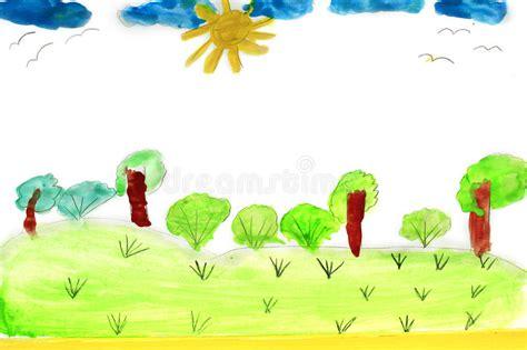 Dibujo Infantil Del Verano Con Los árboles Y El Arbusto ...