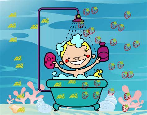 Dibujo niño bañandose en una ducha   Imagui
