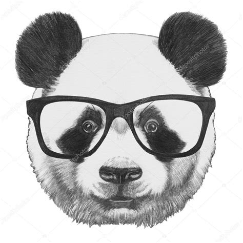 Dibujo original de Panda con gafas — Fotos de Stock ...