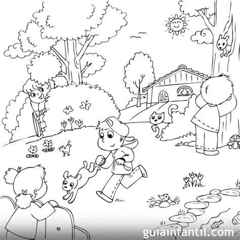 Dibujo para colorear de niños jugando en primavera