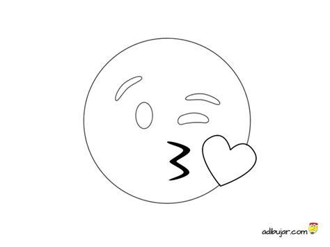 Dibujo para colorear emoticono beso corazón   adibujar.com