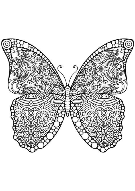 Dibujo para colorear mandala de una mariposa