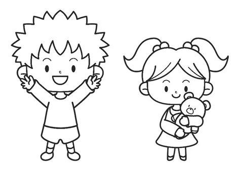Dibujo para colorear niño y niña   Img 30214