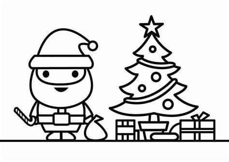 Dibujo para colorear Papá Noel con árbol de Navidad - Img ...