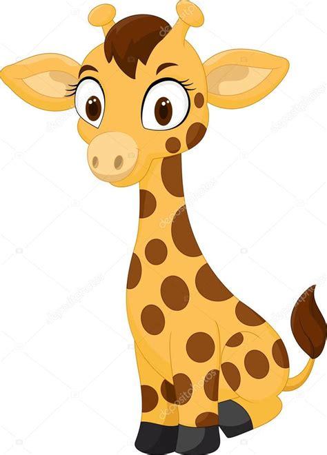 Dibujos animados bebé jirafa sentada — Archivo Imágenes ...