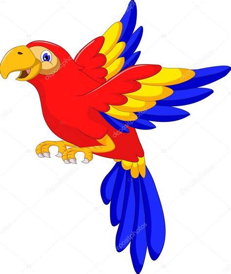 dibujos animados de aves guacamaya volando — Archivo ...