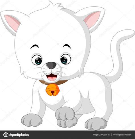dibujos animados de gato blanco — Vector de stock ...