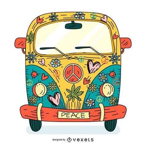 Dibujos animados de hippie colorido hippie - Descargar vector