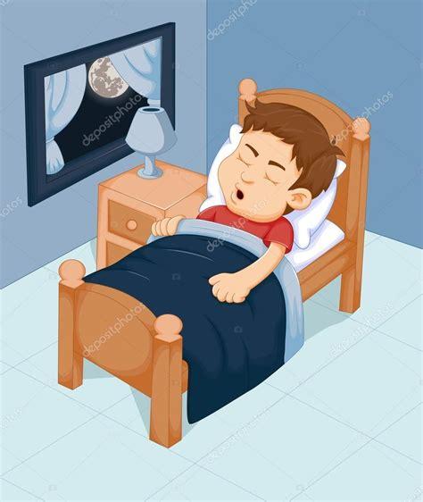 Dibujos animados de lindo niño durmiendo en el dormitorio ...