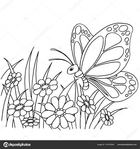 dibujos animados de mariposas y flores para colorear ...