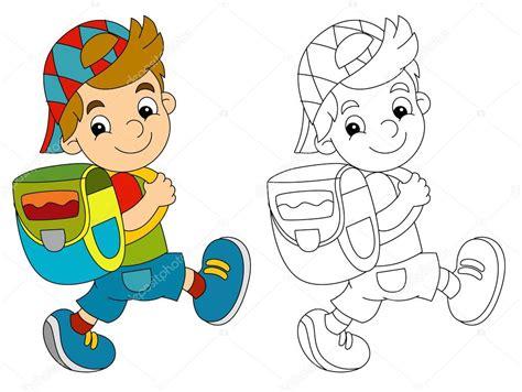 Dibujos animados de niño caminando con mochila — Foto de ...