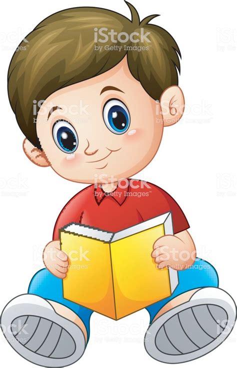 Dibujos Animados De Niño Leyendo Un Libro Illustracion ...