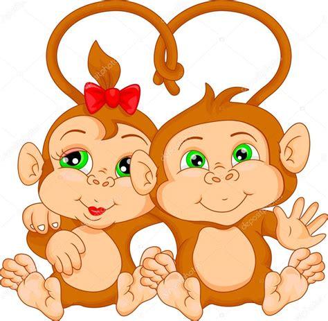 dibujos animados de pareja de Mono lindo — Archivo ...