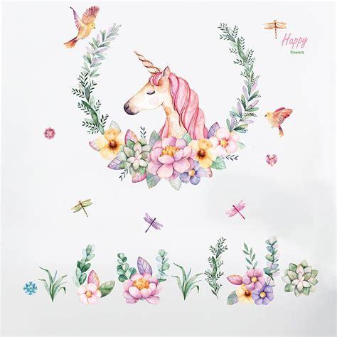 Dibujos Animados De Unicornio Animales Lindos De La Flor ...