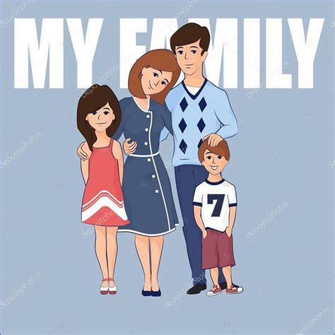 Dibujos animados familia con dos hijos — Archivo Imágenes ...