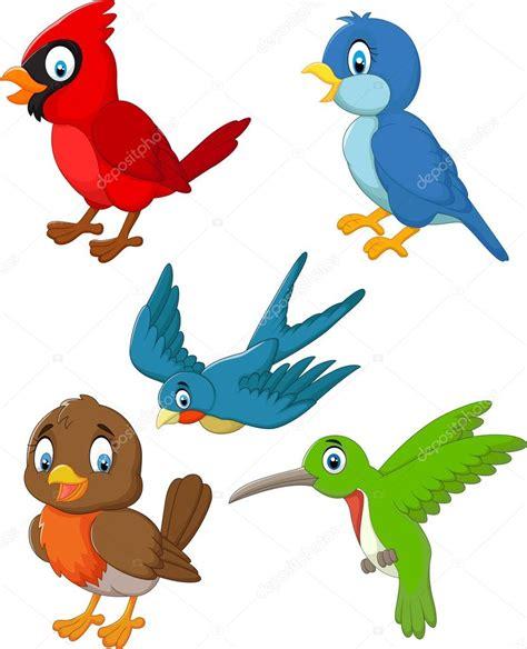 dibujos animados pájaros colección conjunto — Vector de ...