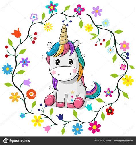 Dibujos animados unicornio en un marco de flores — Vector ...