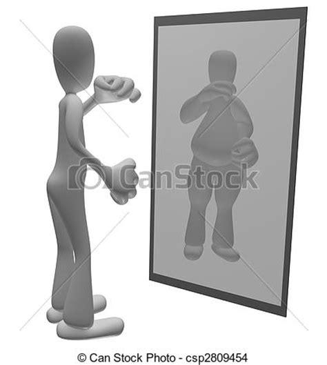 Dibujos de grasa, persona, Mirar, espejo   delgado ...
