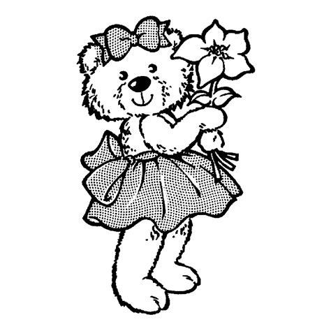 Dibujos de oso con flor para colorear