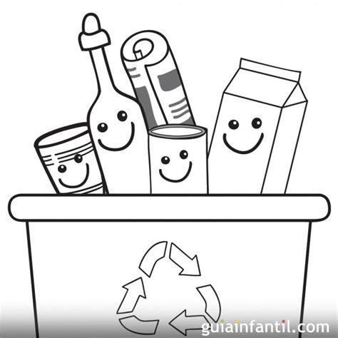 Dibujos infantiles para pintar y enseñar a reciclar